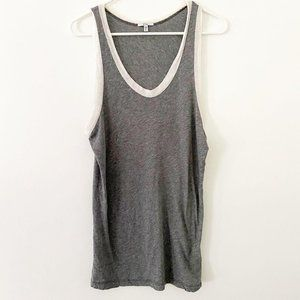 Clu Heather Grey White Trim Tank Top